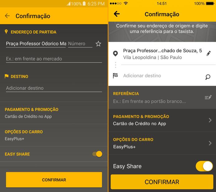 Função está disponível para Android e tem promessa de chegar ao iPhone (Foto: Divulgação/Easy Taxi)