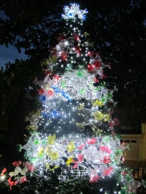 Árvore decorada com material reciclável  (Foto: Paulo Piza/ G1)
