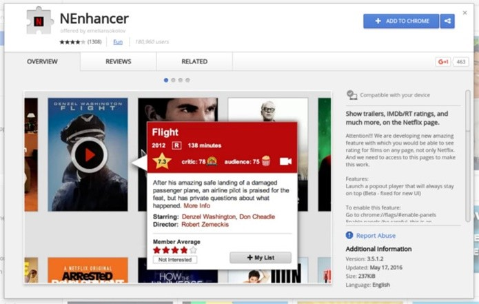NEnhancer possui recursos para facilitar a escolha do conteúdo na Netflix