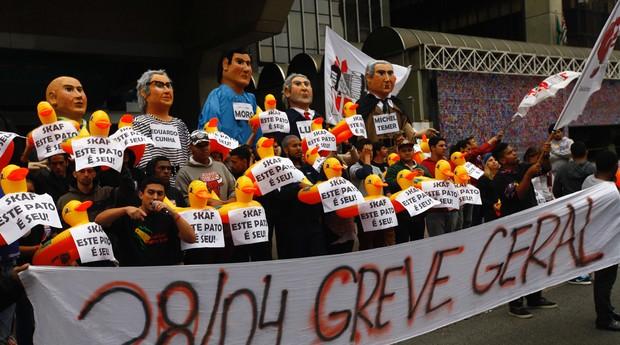 Greve geral, manifestantes, São Paulo, Avenida Paulista (Foto: Cesar Itiberê/ FotosPublicas)