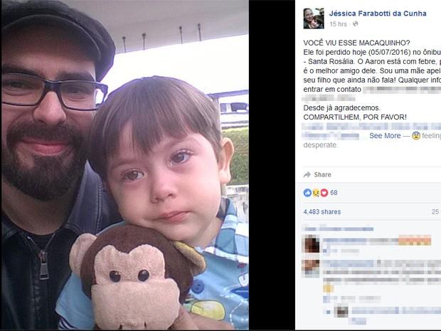Mãe de Sorocaba fez apelo no Facebook para tentar encontrar boneco do filho (Foto: Reprodução/Facebook)
