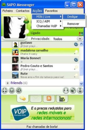 Interface SAPO Messenger