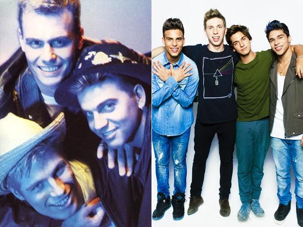 À esquerda, o Big Fun, que fez sucesso na Inglaterra em 1989 (com Jason Herbert embaixo); à direita, o P9, boy band carioca criada por Jason, agora produtor (Foto: Divulgação e Vitor Augusto)