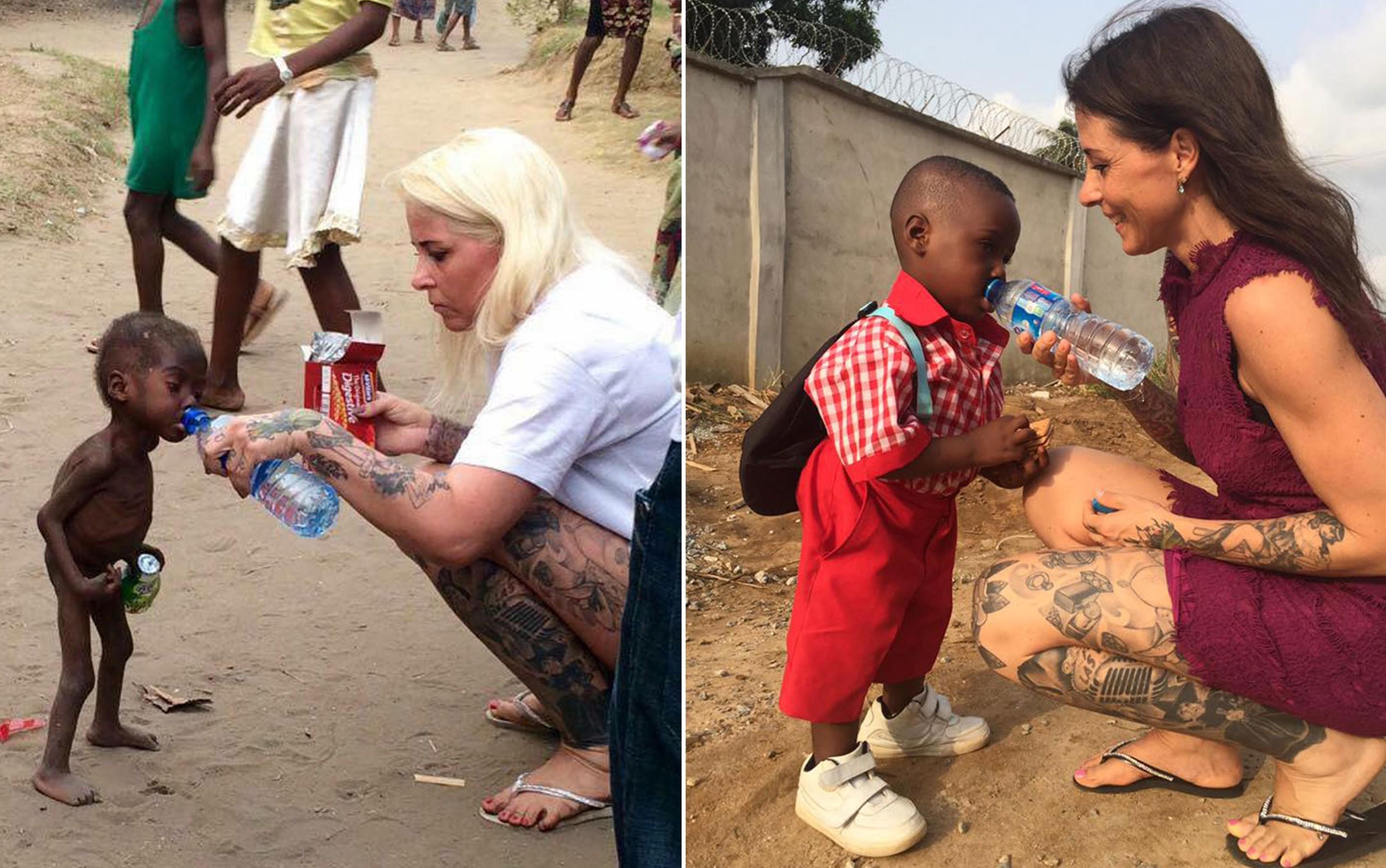 Hope e Anja em fotos tiradas com um ano de diferença (Foto: Reprodução Facebook)