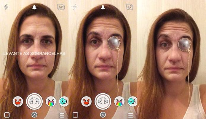 Com efeito envelhecido, seu rosto ganha um óculos ao levantar as sobrancelhas (Foto: Reprodução/Juliana Pixinine)