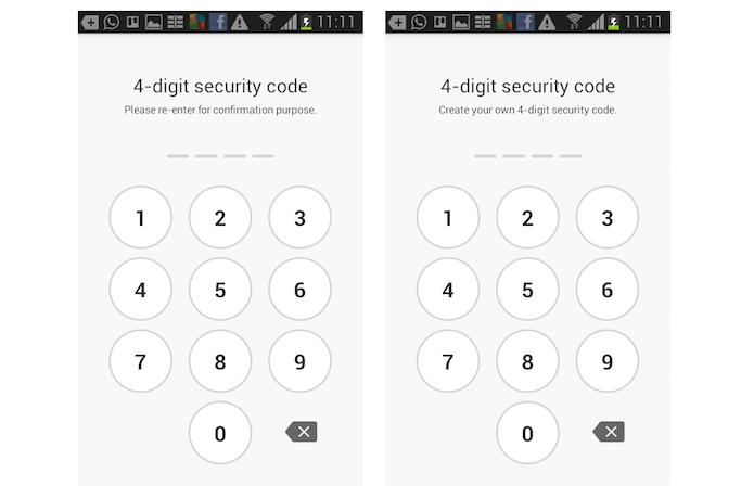 Cadastrando um código de quatro dígitos no Mobizen instalado no dispositivo Android (Foto: Reprodução/Marvin Costa)