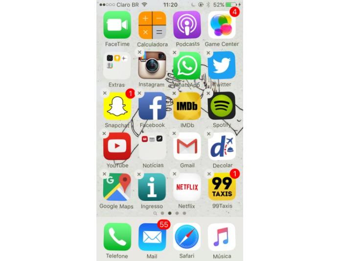 Pressione o aplicativo por alguns segundos até os ícones começarem a tremer (Foto: Reprodução/Maria Clara Pestre)