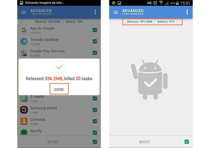 Confirme o fim da ação do app e confira a porcentagem de RAM e bateria do Android (Foto: Reprodução/Barbara Mannara)