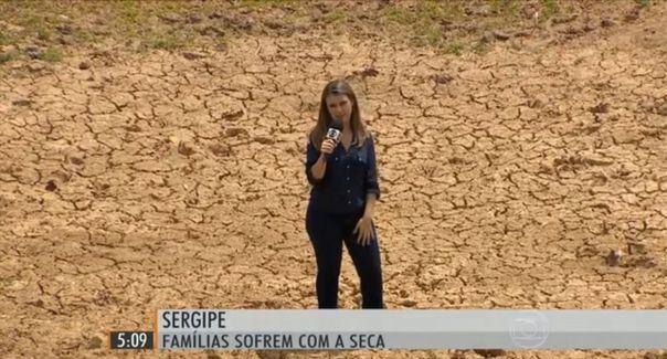 Priscilla Bitencourt mostra situação da seca no interior de Sergipe (Foto: Divulgação/TV Sergipe)