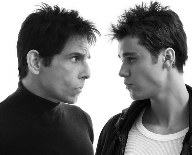 Justin Bieber e Ben Stiller caracterizados para o filme 'Zoolander 2' (Foto: Divulgação )