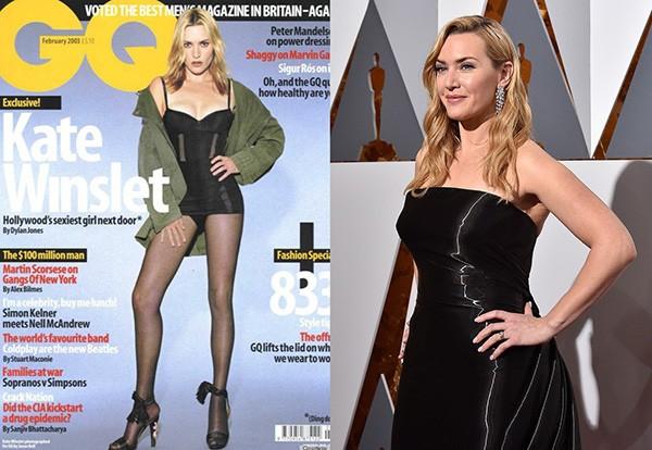 Kate Winslet na capa da GQ e recentemente na cerimônia do Oscar (Foto: Divulgação / Getty Images)