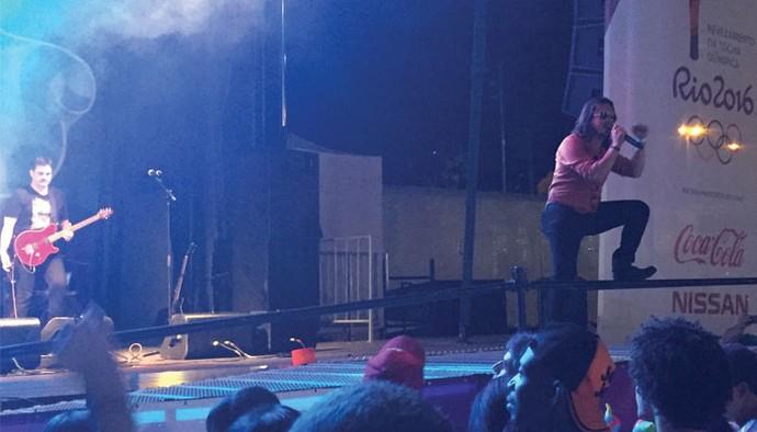 Banda Venosa no encerramento do evento da passagem da tocha olímpica em Uberlândia (Foto: Raul Neto)