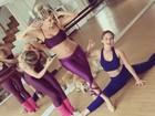 Grávida, Karina Bacchi faz aula de dança com Mariana Ximenes