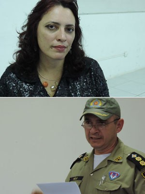 Promotora e PM, na audiência sobre sambadas de maracatus (Foto: Luna Markman / G1)