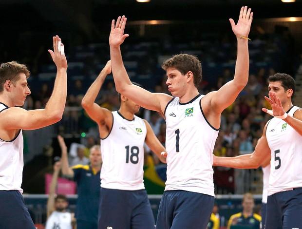 Comemoração do Brasil x Alemanha, Vôlei (Foto: Agência Reuters)