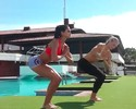 Fora do Mundial, musa Leryn Franco mostra talento em ioga e halterofilismo