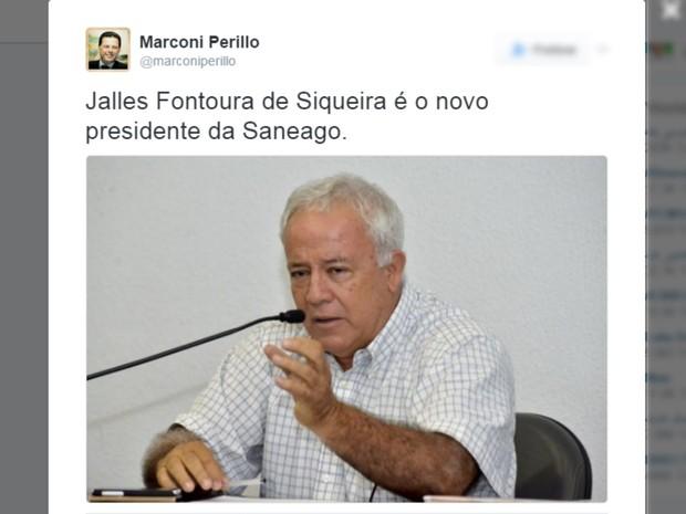 Marconi Perillo (PSDB) anuncia novo presidente da Saneago em redes sociais Goiás Goiânia (Foto: Reprodução/Twitter)