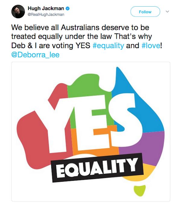 O ator Hugh Jackman expressando seu voto a favor do casamento gay nas eleições australianas (Foto: Twitter)