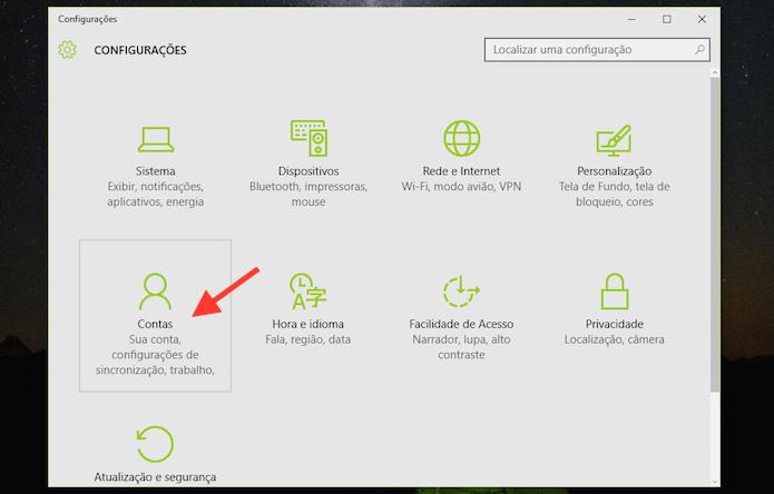Acessando as opções para contas do Windows 10 (Foto: Reprodução/Marvin Costa)