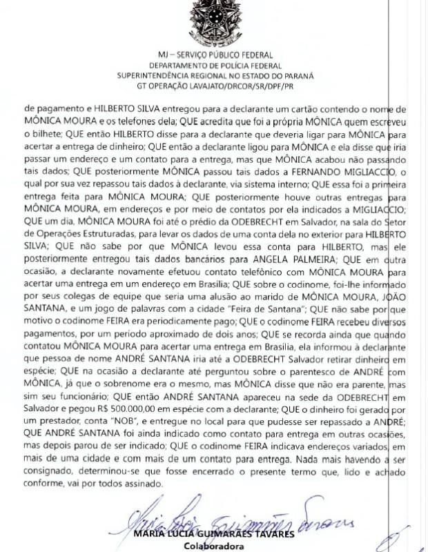Delatora diz que fez pagamentos para Monica Moura, mulher de João Santana (Foto: Reprodução)