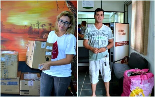 Além de colaboradores, a população também faz doações (Foto: Hellen Monteiro/ TV Acre)