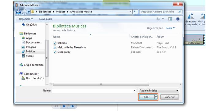 Selecione a música no seu computador e adicione (Foto: Reprodução/Barbara Mannara)
