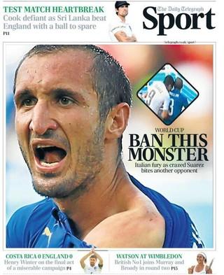 capa jornal inglês suárez mordida (Foto: Reprodução)