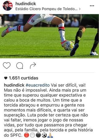 Post Hudson São Paulo Instagram (Foto: Reprodução/Instagram)