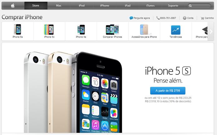 Apple retirou o iPhone 4 da loja brasileira (Foto: Aline Jesus/Reprodução)