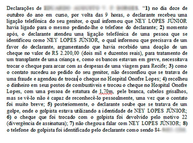 Trecho de depoimentos de uma pessoa que relata ter sido vítima do golpe (Foto: Reprodução)