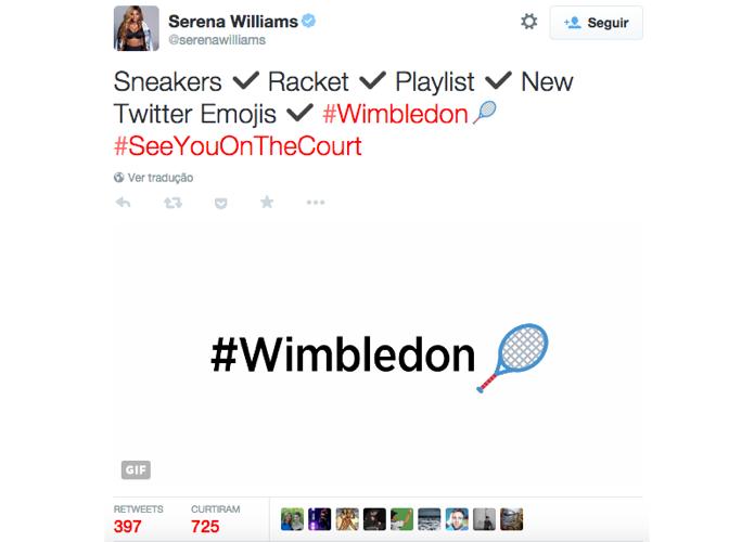 Novas hashflags foram anunciadas pela tenista Serena Williams (Foto: Reprodução/Twitter)