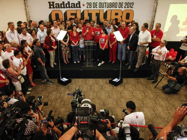 Discurso de Fernando Haddad (PT), após vitória na eleição de São Paulo (Foto: Vagner Campos/G1)