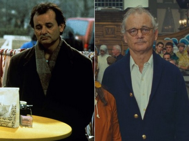 Bill Murray em 'Feitiço do tempo' (1993) e em 'Moonrise kingdom' (2012) (Foto: Focus Features/Divulgação)