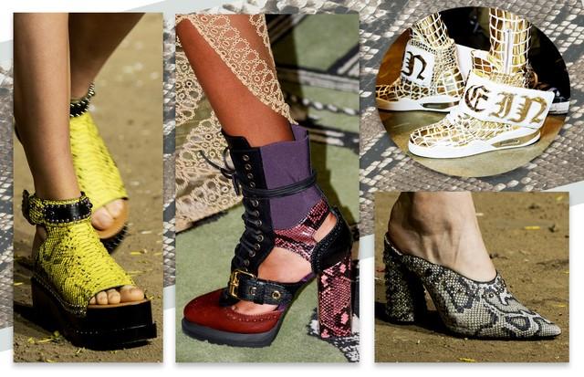Fauna selvagem nos pés com cobras e crocodilo. A partir da esquerda, Phillip Lim, Burberry, Phillip Plein e Phillip Lim (Foto: Antonio Barros, Getty Images e ImaxTree)