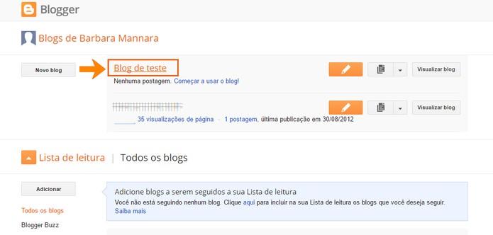 Acesse seu blog no Blogger pelo computador (Foto: Reprodução/Barbara Mannara)