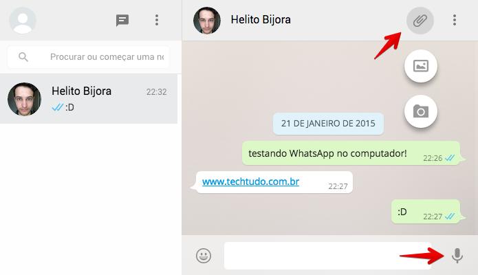 Enviando fotos, vídeos ou mensagens de voz pelo computador (Foto: Reprodução/Helito Bijora)