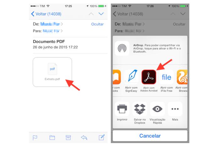 Abrindo um arquivo PDF com o Adobe Acrobat para iPhone (Foto: Reprodução/Marvin Costa)