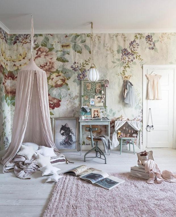 Décor do dia: quarto romântico, vintage e floral (Foto: reprodução)