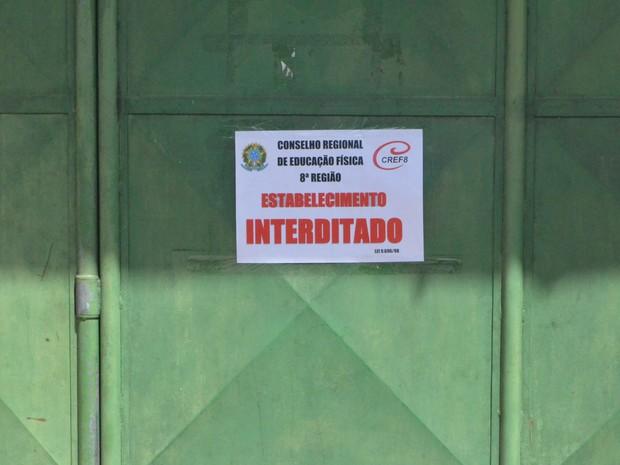 Academia foi interditada nesta quinta-feira (14) (Foto: Anny Barbosa/G1)
