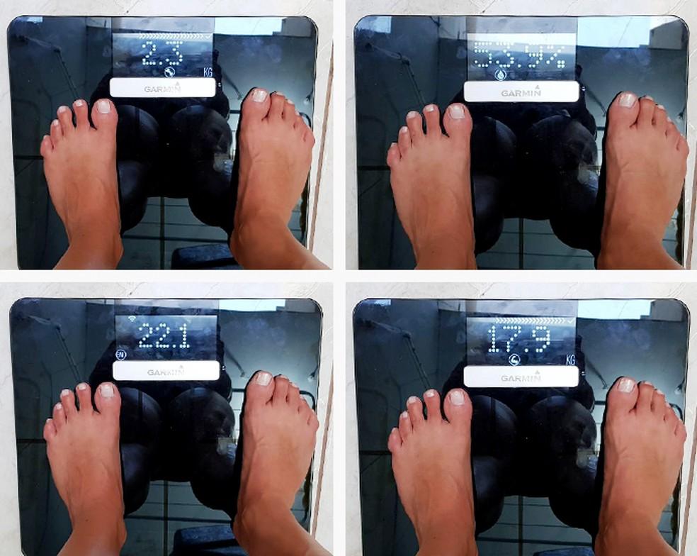 É possível saber peso, índice de massa corporal (IMC), gordura, porcentagem de água, massa muscular e óssea (Foto: Arquivo pessoal / Arte Eu Atleta)