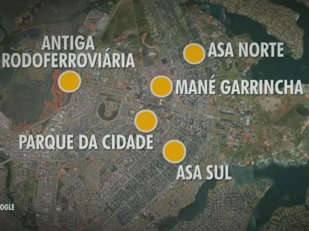 Espaços onde o GDF estuda criar estacionamentos (Foto: Google Maps/Reprodução)