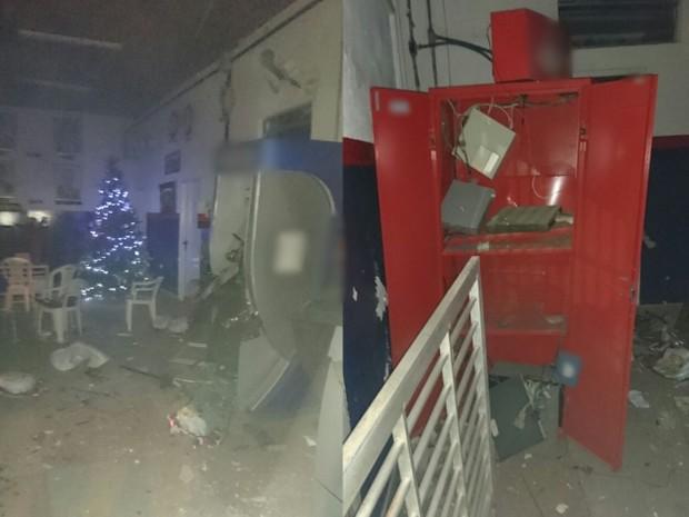 Caixas foram explodidos dentro do prédio da prefeitura de Cortês (Foto: Reprodução/Whatsapp)