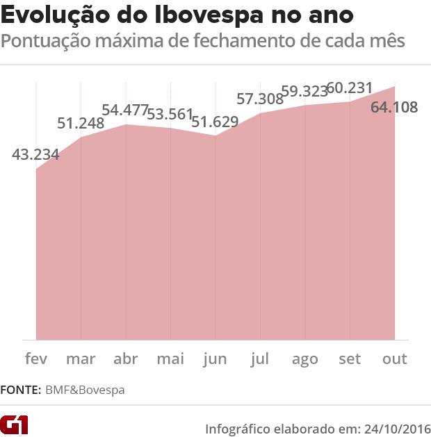 Evolução do Ibovespa no ano (Foto: G1)