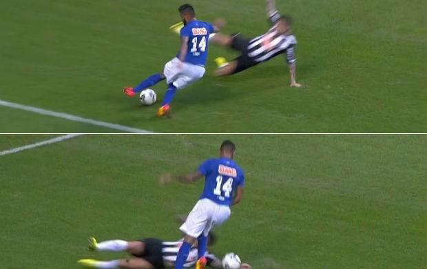 Montagem; pênalti reclamado pelo Cruzeiro; (Foto: Reprodução SporTV)