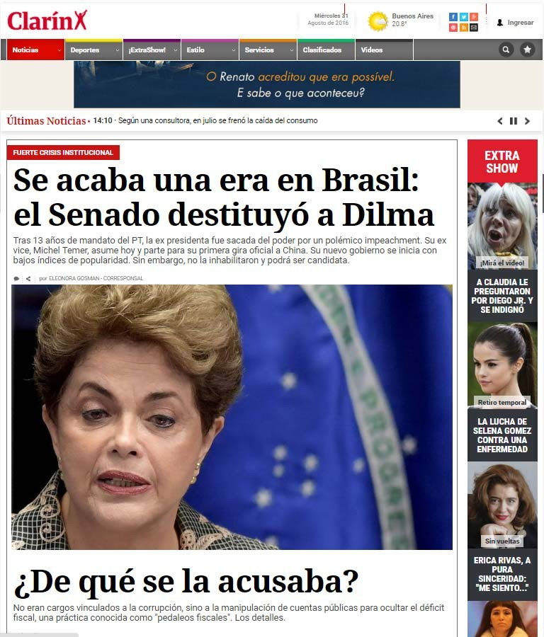 Jornal argentino Clarín diz que afastamento definitivo de Dilma Rousseff é fim de uma era no Brasil (Foto: Reprodução/ Clarín)