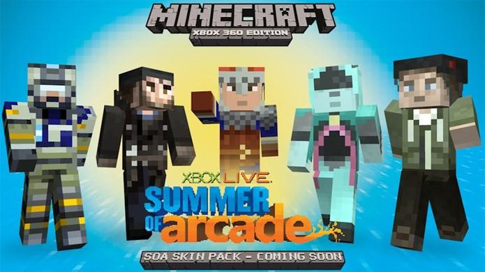 Em pacote promocional de verão, Tony Hawk fez ponta em Minecraft, à direita (Foto: wpcentral.com)