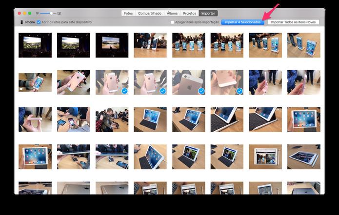 """Tela """"Importar"""" permite escolher somente as fotos que o usuário deseja passar para o Mac (Foto: Reprodução/TechTudo)"""