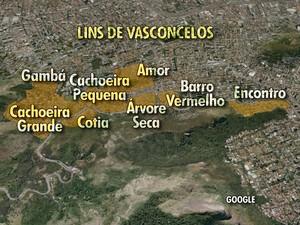 Conjunto de favelas do Lins de Vasconcelos, no Rio (Foto: Editoria de Arte/TV Globo)