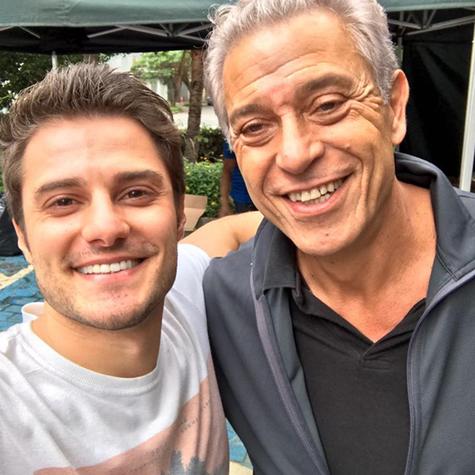 Hugo Bonemer e Paulo Gorgulho nos bastidores de 'A vida secreta dos casais' (Foto: Arquivo pessoal)