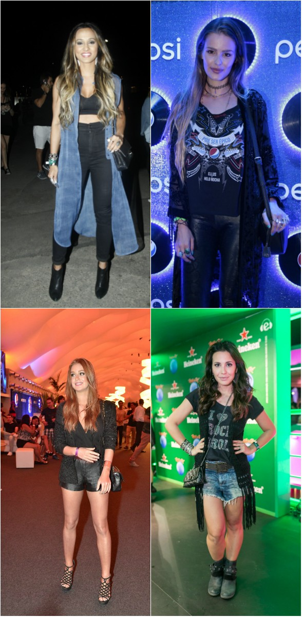 Look no Rock in Rio: Thaíssa Carvalho, Yasmin Brunet, Mariana Ruy Barbosa e Juliana Knust usacam casacos mais longos (Foto: Ag. News)